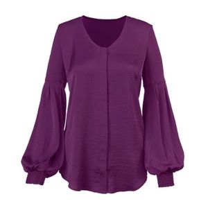 Cabi Beguile Satin Long Sleeve Blouse